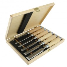 Set of 6 bevel edge chisels in wooden box