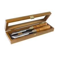 Set of skew chisels in wooden box 20mm
