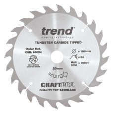 Trend Craft Pro 160mm diameter 20mm bore 24 tooth combination cut saw blade for hand held circular saws